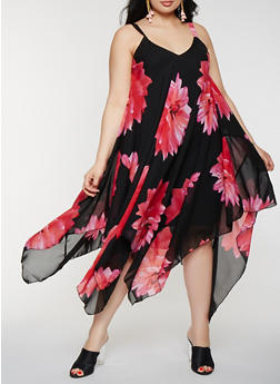 Plus Size Floral Asymmetrical Midi Dress - 0390056125784