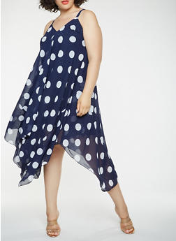 Plus Size Polka Dot Asymmetrical Dress - 0390056125785