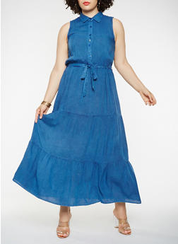 Plus Size Chambray Maxi Dress - 0390056125842