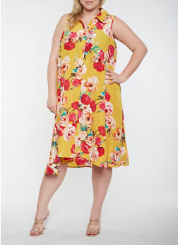 Plus Size Floral Midi Shirt Dress - 0390056125847