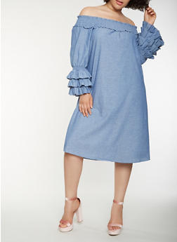 Plus Size Chambray Off the Shoulder Dress - 0390056125853