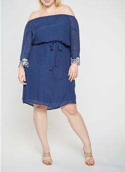 Plus Size Crochet Trim Off the Shoulder Dress - 0390056125858