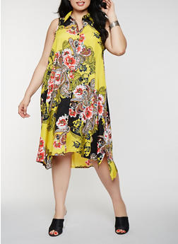 Plus Size Printed Midi Shirt Dress - 0390056125861