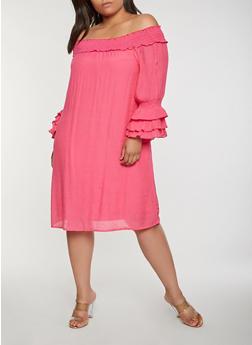 Plus Size Off the Shoulder Peasant Dress - 0390056125870