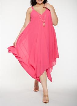 Plus Size Asymmetrical Maxi Dress with Necklace - 0390056125905