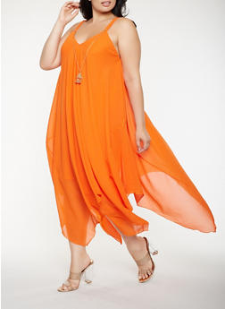 Plus Size Asymmetrical Maxi Dress with Necklace - 0390056125905