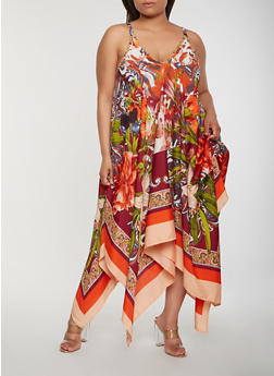 Plus Size Printed Asymmetrical Maxi Dress - 0390056125958