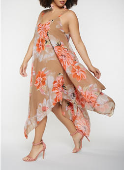 Plus Size Asymmetrical Floral Maxi Dress - 0390056125962