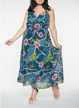Plus Size Printed Faux Wrap Maxi Dress - 0390056125963