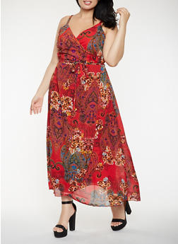 Plus Size Printed Faux Wrap Maxi Dress - 0390056125964