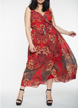 Plus Size Printed Faux Wrap Maxi Dress - 0390056125964