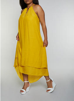 Plus Size Gauze Knit High Low Dress - 0390056126024