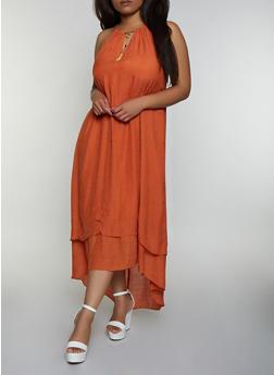Plus Size Gauze Knit High Low Dress - 0390056126024