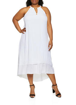 Plus Size Metallic Neck Detail High Low Dress - 0390056126814