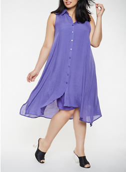 Plus Size High Low Shirt Dress - 0390056127025