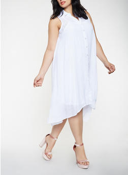 Plus Size Midi Shirt Dress - 0390056128025