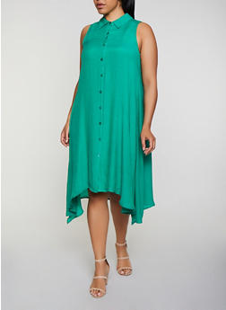 Plus Size Solid Trapeze Shirt Dress - 0390056129025