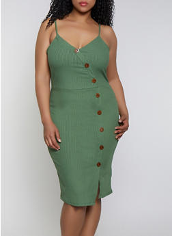 Plus Size Button Ribbed Knit Dress - 0390058750019