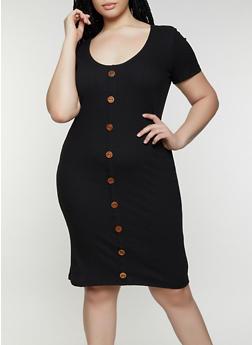 Plus Size Rib Knit Button Detail Dress - 0390058750523