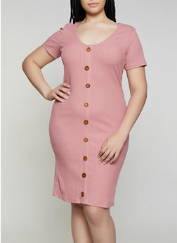 Plus Size Rib Knit Button Detail Dress - 0390058750523