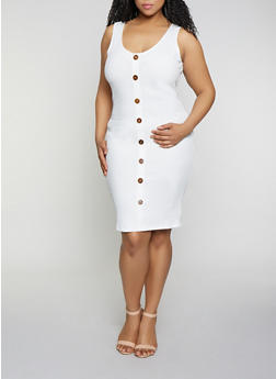 Plus Size Button Detail Rib Knit Dress - 0390058750524