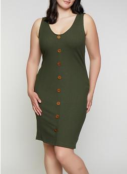 Plus Size Button Detail Rib Knit Dress - 0390058750524
