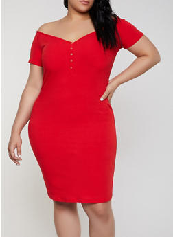 Plus Size Button Off the Shoulder Dress - 0390058750525