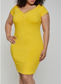Plus Size Button Off the Shoulder Dress - 0390058750525