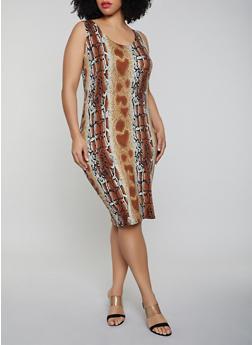 Brown Plus Size Knit Dresses