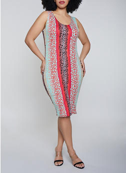 Plus Size Leopard Tank Dress - Multi - Size 1X - 0390058750531