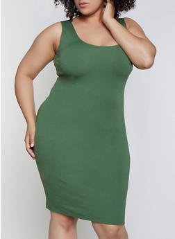 Plus Size Sleeveless Ponte Bodycon Dress - 0390058750731