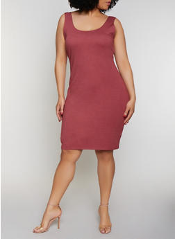 Plus Size Sleeveless Ponte Bodycon Dress - 0390058750731