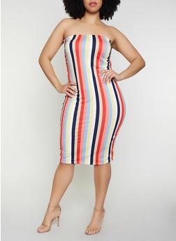 Plus Size Striped Soft Knit Tube Dress | 0390058751747 - 0390058751747