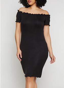 Plus Size Lettuce Edge Off the Shoulder Dress - 0390058752210