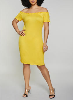 Plus Size Lettuce Edge Off the Shoulder Dress - 0390058752210