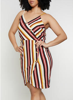 Plus Size Faux Wrap Striped Dress - 0390058752733