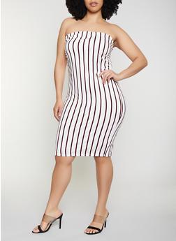 Plus Size Striped Soft Knit Tube Dress | 0390058752747 - 0390058752747