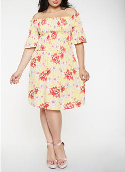 Plus Size Printed Off the Shoulder Dress - 0390058753288