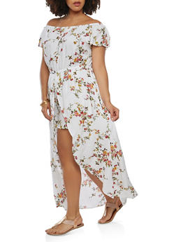 Plus Size Floral Maxi Romper - 0390058753485