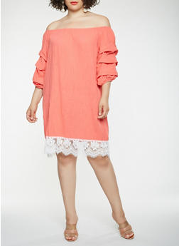 Plus Size Lace Trim Off the Shoulder Dress - 0390058753636