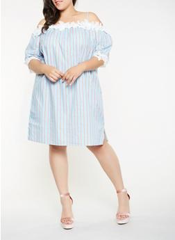 Plus Size Crochet Trim Striped Shift Dress - 0390058753643