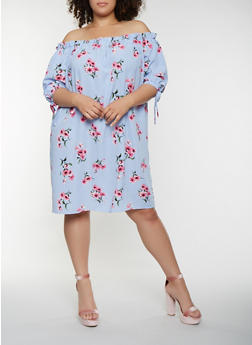 Plus Size Floral Striped Off the Shoulder Midi Dress - 0390058753645