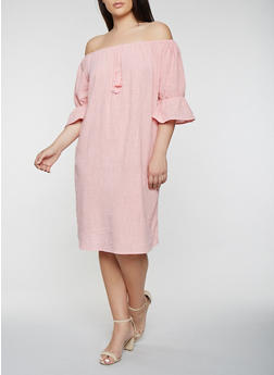 Plus Size Off the Shoulder Linen Dress - 0390058753657