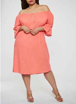 Plus Size Off the Shoulder Linen Dress - 0390058753657