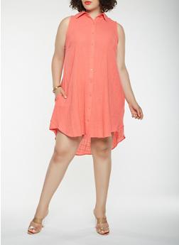 Plus Size Linen Shirt Dress - 0390058753659