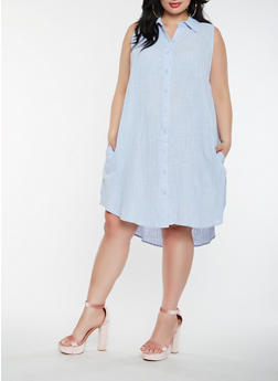 Plus Size Linen Shirt Dress - 0390058753659