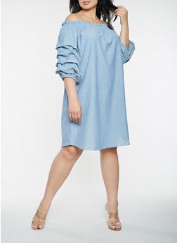 Plus Size Off the Shoulder Chambray Dress - 0390058753662