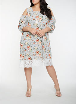 Plus Size Printed Cold Shoulder Midi Dress - 0390058753688
