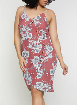 Plus Size Floral Faux Wrap Cami Dress - 0390058753733