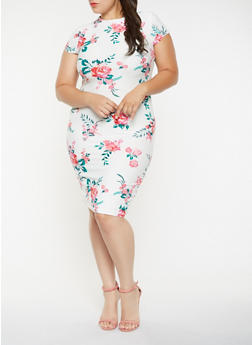 Plus Size Floral Mock Neck Bodycon Dress - 0390058753918